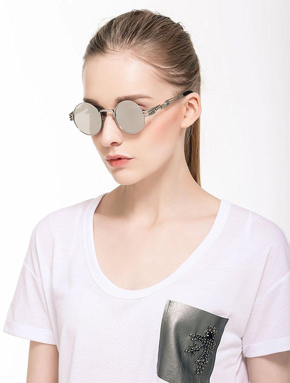 b065f3387f Dollger 2 Pack John Lennon Round Sunglasses Steampunk Metal Frame Mirror  Lens