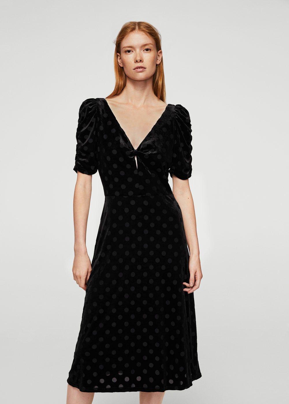 Vestido negro cuero mango