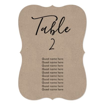 Simple wedding table number guest names card wedding invitations simple wedding table number guest names card stopboris Choice Image