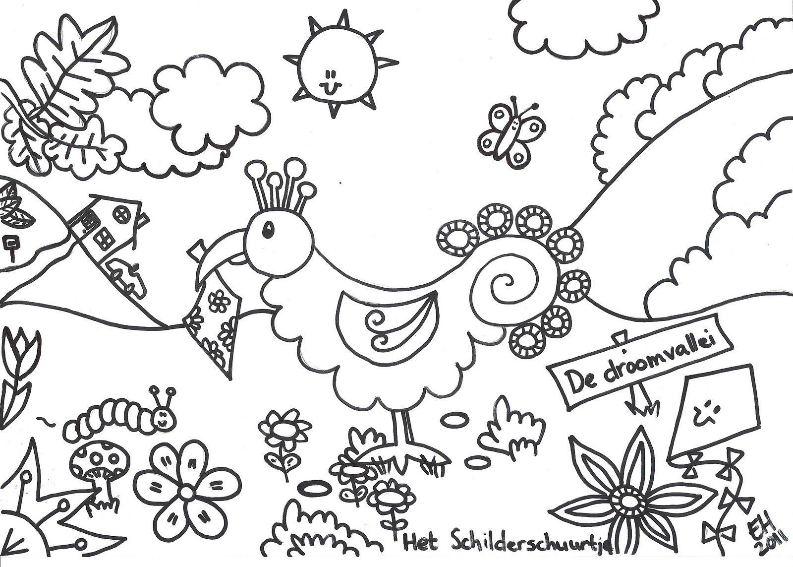 Droomvallei Droomvogel Dream Bird Kleurplaten Kleuren Mandala