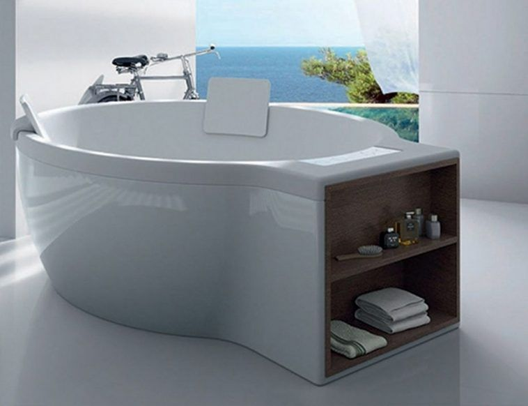 White Free Standing Round Soaking Bathtub With Headrest And Open