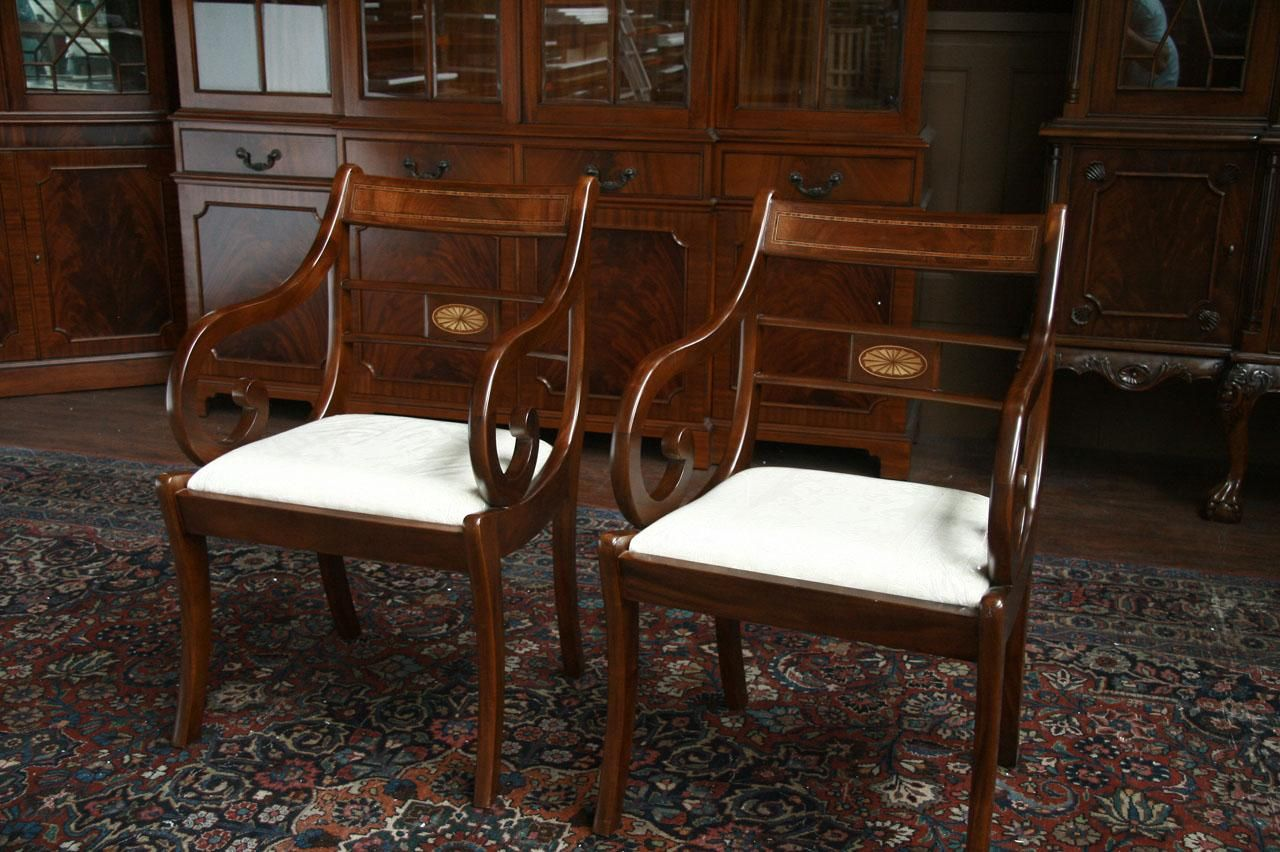 Duncan Phyfe Furniture Dining Room Chairs Pair Of Arm