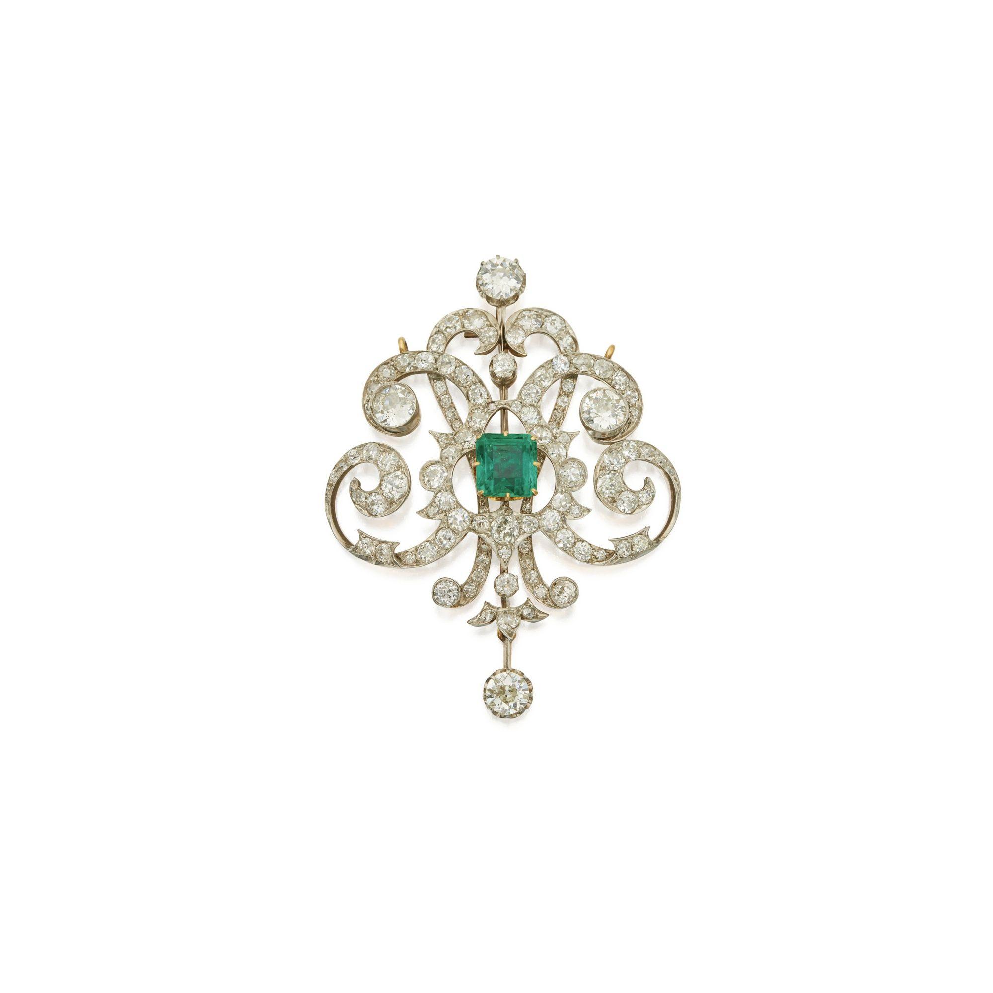 diamond & emerald pendant/brooch ||| sotheby's n09695lot9klvven