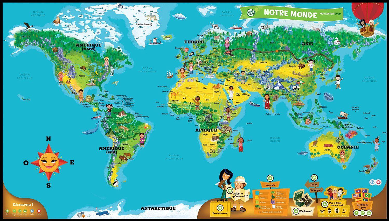 Carte Legendee Classique Oceans Continents Carte Du Monde