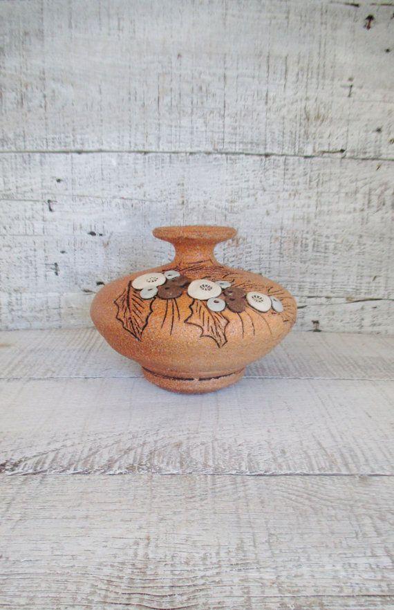 Vase Stoneware Oil Lamp Mid Century Ceramic by TheDustyOldShack