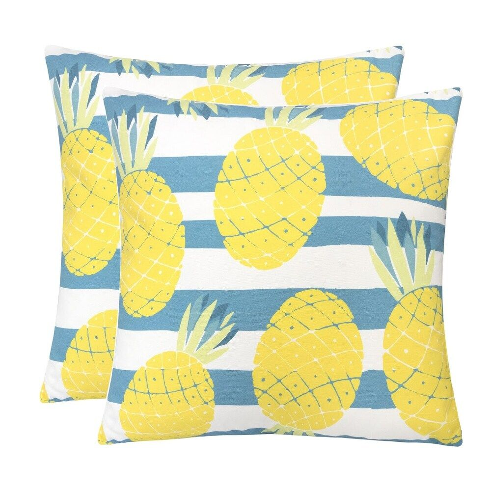 Outdoor Pillow, Pineapple (Set of 2), Yellow(Acrylic, Nature)