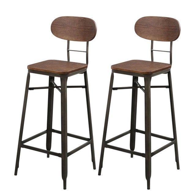 Tabouret De Bar Woody 76 Cm Lot De 2 Tabouret De Bar Tabouret De Bar Industriel Tabouret De Bar Bois