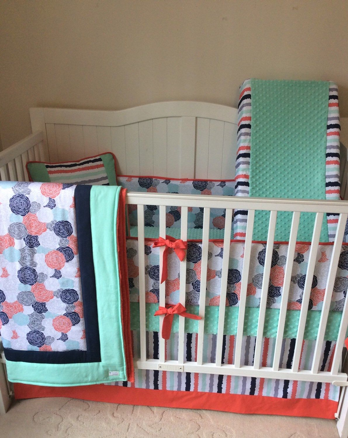 C Mint Navy And Gray Baby Curl Crib Bedding With Fl Stripe Www Etsy Listing 179951225 Set In