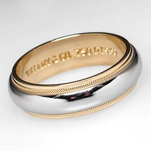 Mens Tiffany Co Milgrain Wedding Band Ring 6mm Platinum 18K Gold