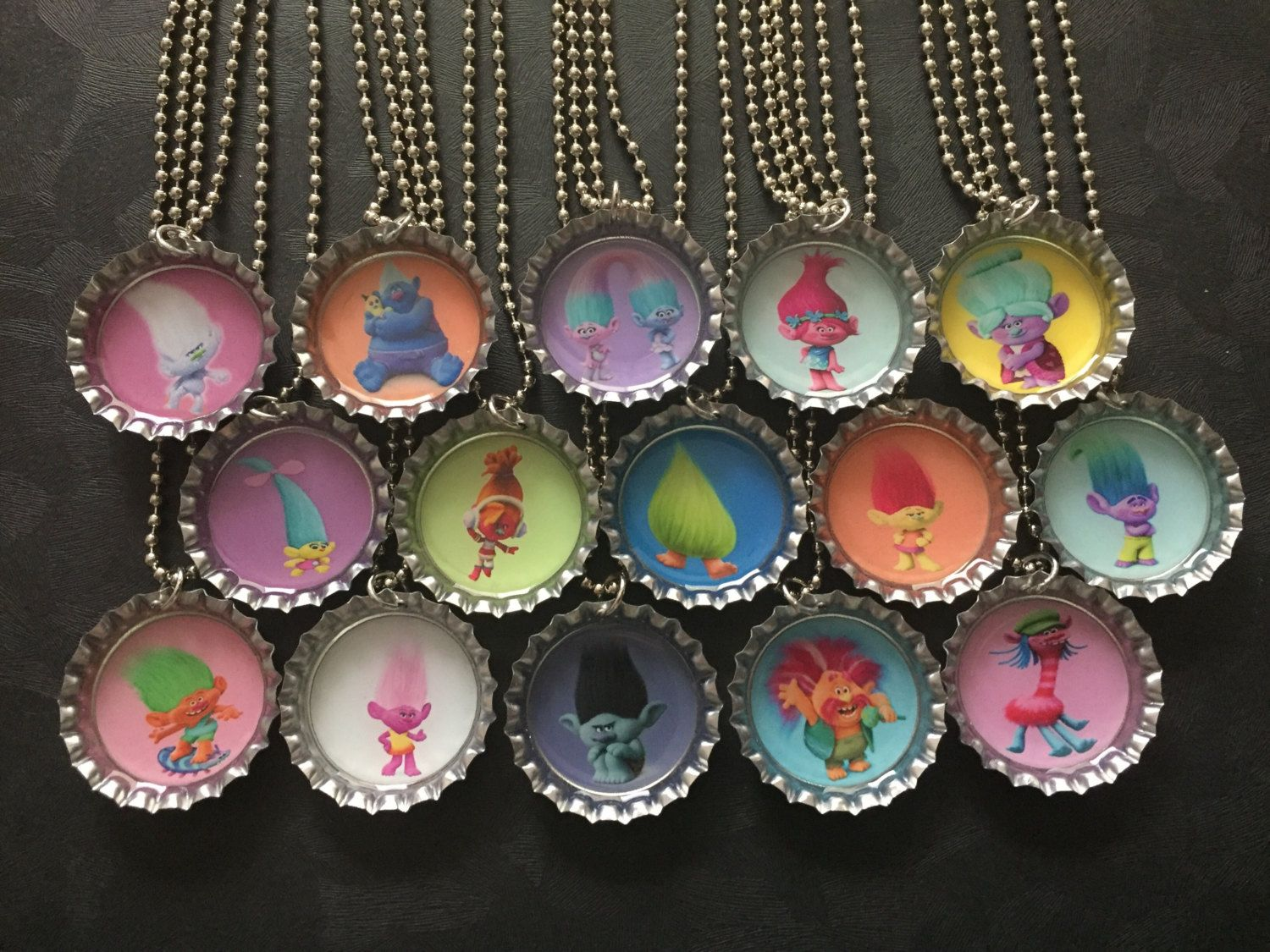 Trolls  Bottle Cap Party favors (15)  choose the images you want by PPPartyFavors on Etsy