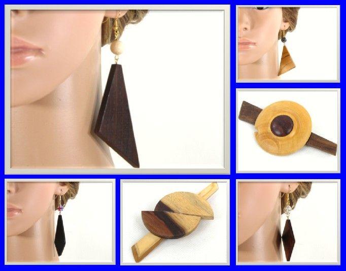 Les modèles de bijoux en bois que je vous propose, sont fabriqués avec des bois de pays du sud de la France et des bois exotique venant d'Afrique, d'Asie, etc. Les apprêts de bijouterie que j'utilise sont en or ou en argent hypoallergénique garanti sans nickel.  Ils sont séduisants par leur simplicité. Pour une idée de cadeaux les bijoux en bois feront un très joli cadeau pour une femme. http://www.alittlemarket.com/boutique/tournage-sur-bois-idees-deco-cadeaux