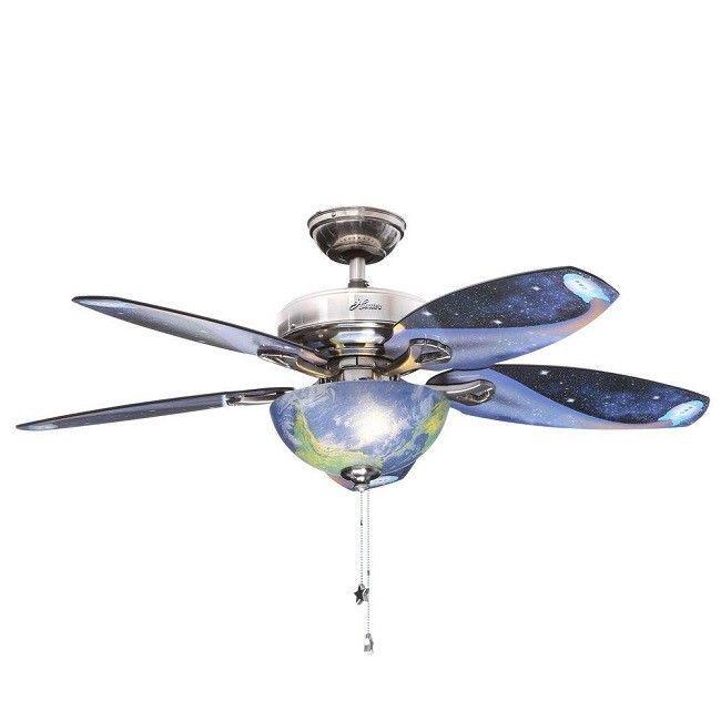 Ceiling Fan Globes Light Moon Stars Reversible 5 Blade Kids Bedroom Pull Chains Brushed Nickel Ceiling Fan Ceiling Fan With Light Ceiling Fan