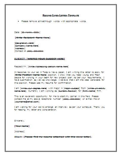 Cover Letter Template For Resume Free - http\/\/wwwresumecareer - free resume cover letters