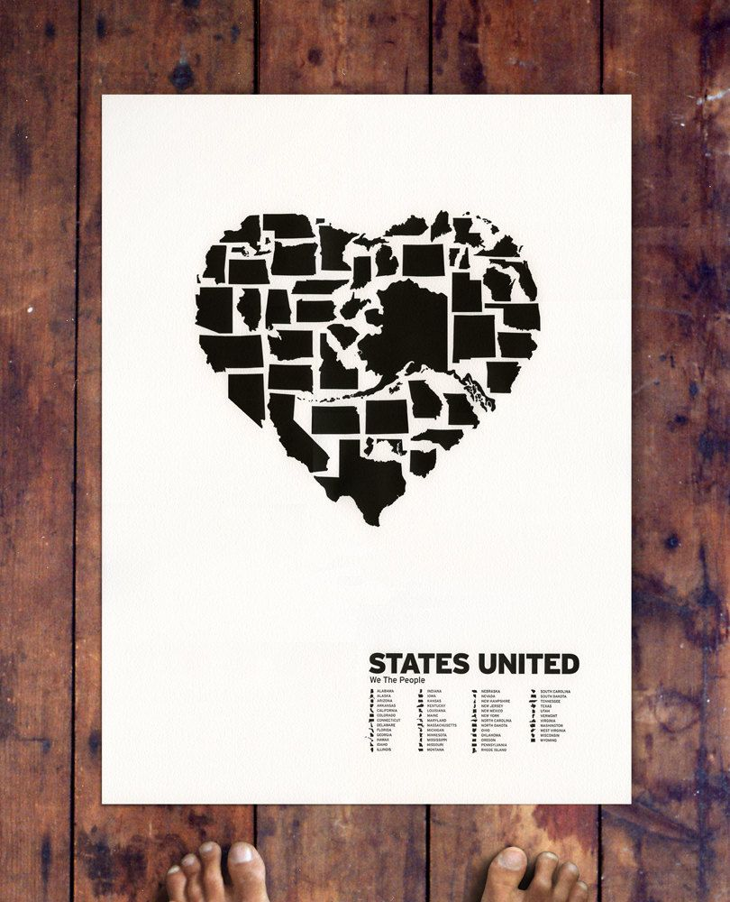 Love how texas is practically the first thing you see :)  States United by Gregory Beauchamp: Letterpress on paper. #Illustration #States_United #Gregory_Beauchamp