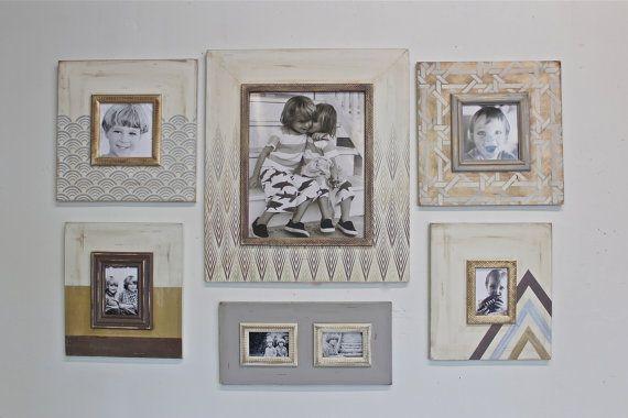 Set of Metallic Distressed Mod Wall Frames Gallery Style Geometric ...