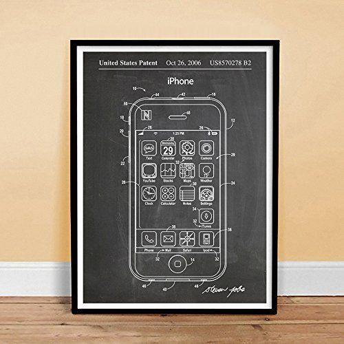 iPHONE POSTER US Patent Print Blackboard 18x24 Poster Apple Computer - new enterprise blueprint apple