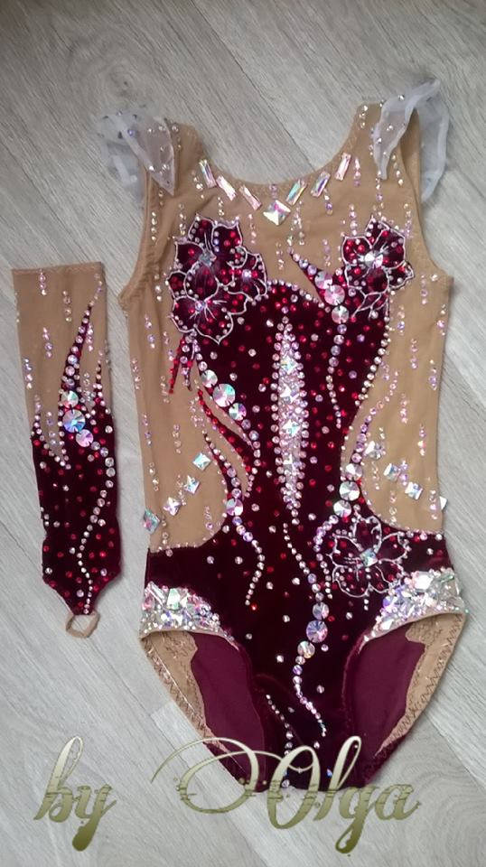 Made To Measure RHYTHMIC GYMNASTICS Leotard Kids Dancewear Velvet Wine Red  Without skirt 8d22c4b7eab