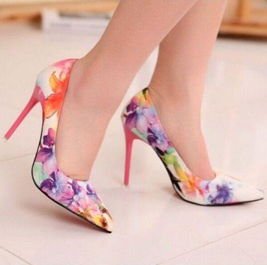 Fashion Womens High Heel Floral Sweet Princess Printing Flowers Shoes #New #Stilettos