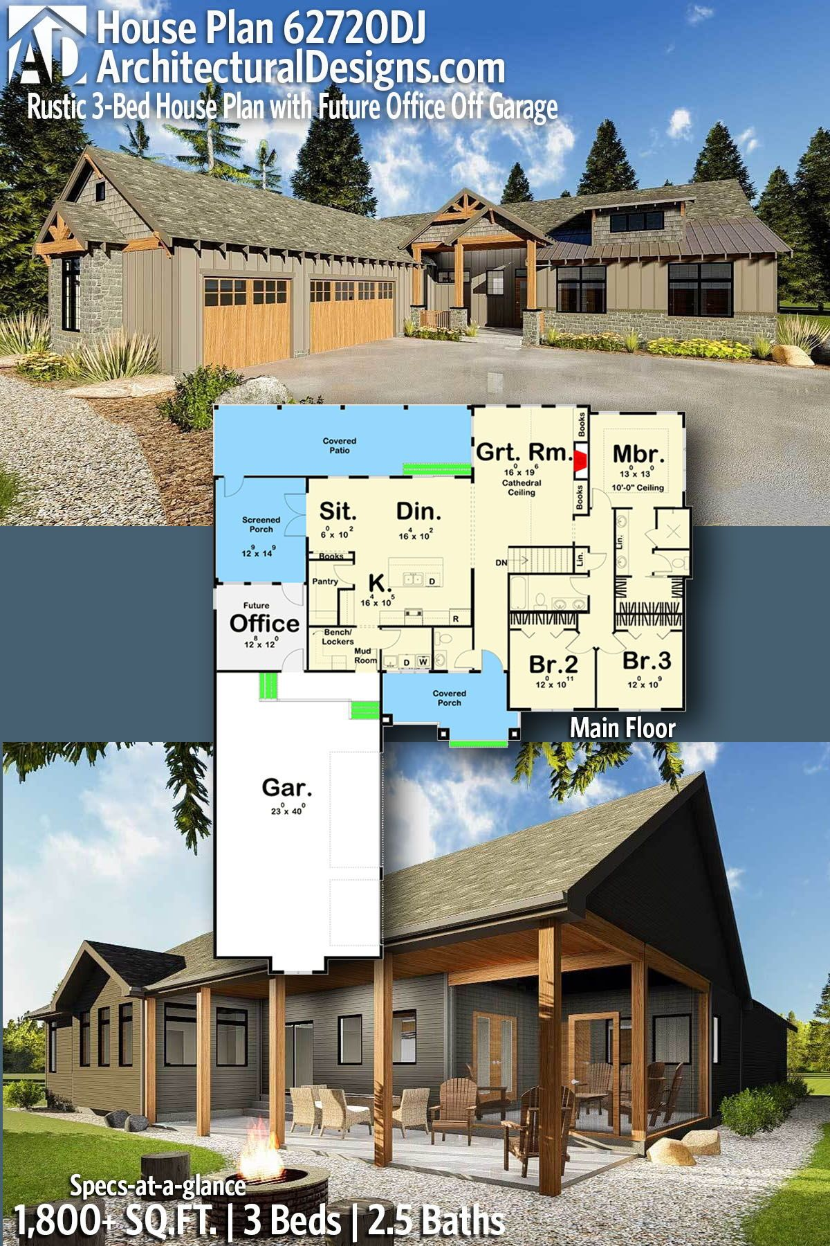 Plan 62720dj Rustic 3 Bed House With Future Office Off Garage Craftsman House Plans Rustic House Plans Mountain House Plans