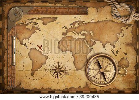 Leeftijd schatkaart liniaal touw en oude messing kompas still life leeftijd schatkaart liniaal touw en oude messing kompas still life gumiabroncs Images