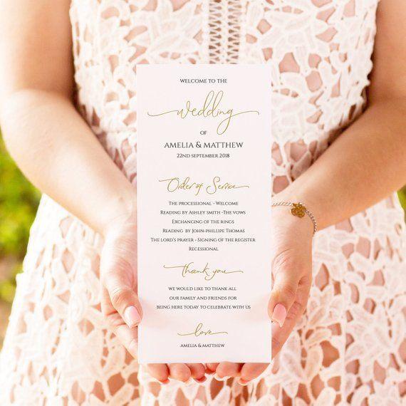 wedding program template printable wedding program 4 x9 editable