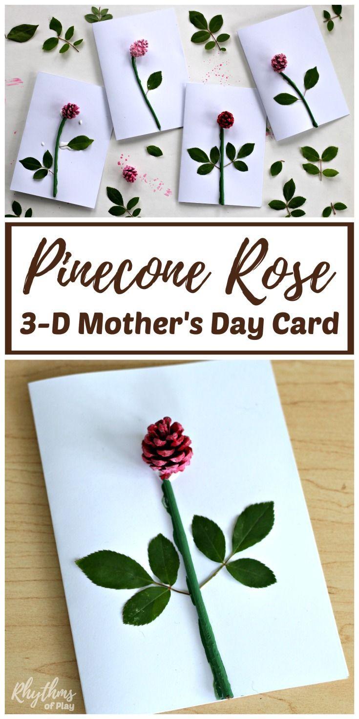 Diy pinecone rose d motherus day card kids make in kids