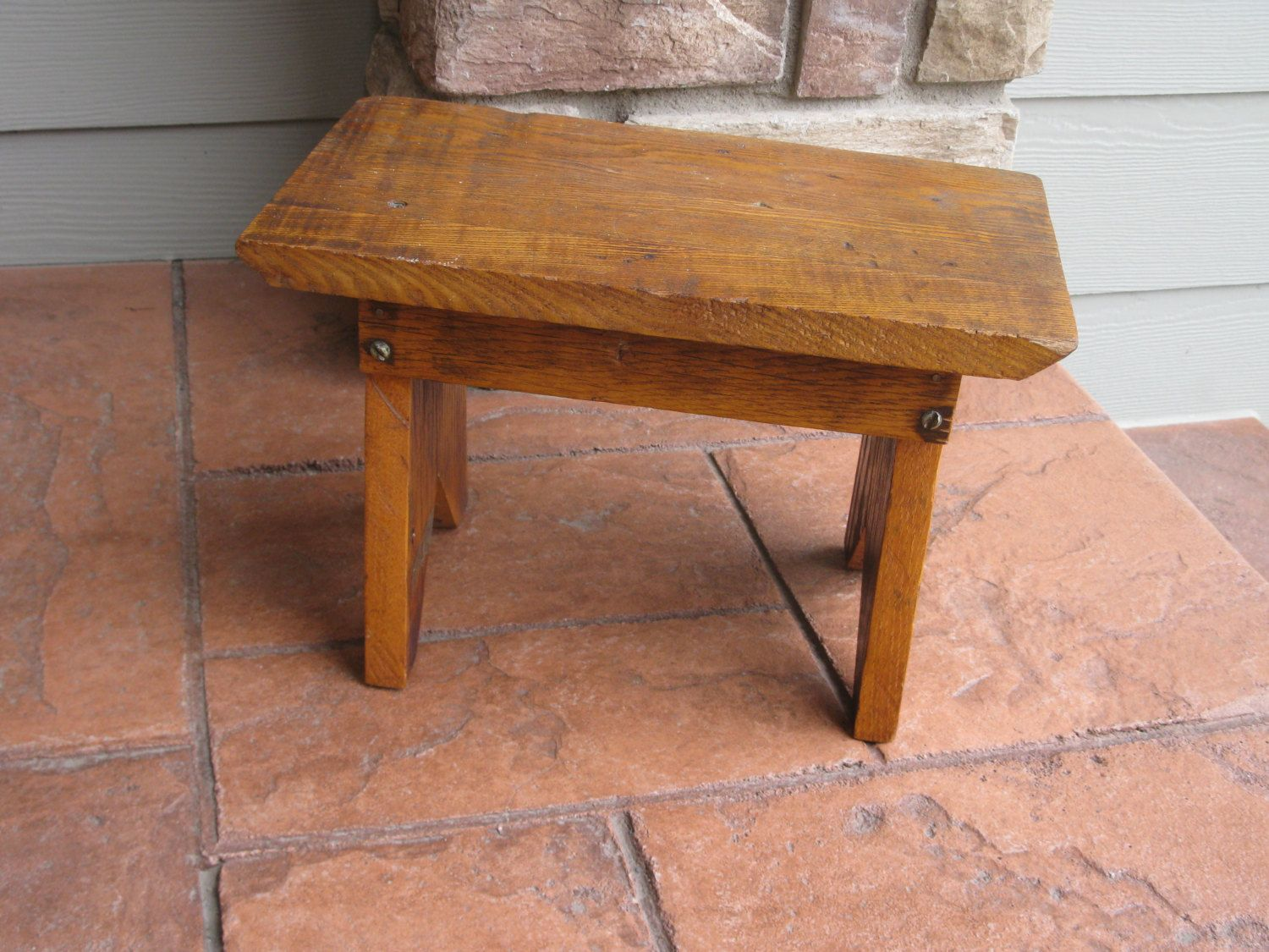 Shabby Wood Bench Step Stool Handcrafted Oak Foot Stool Plant Stand Step Bench Kids Stool Time Out Chair Doll Bench Photo Prop By Time Out Chair Kids Stool Wood