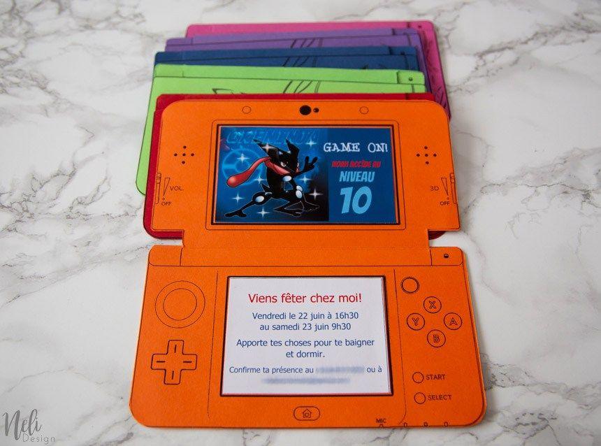 Diy Nintendo 3ds Birthday Invitations Video Games Birthday Party
