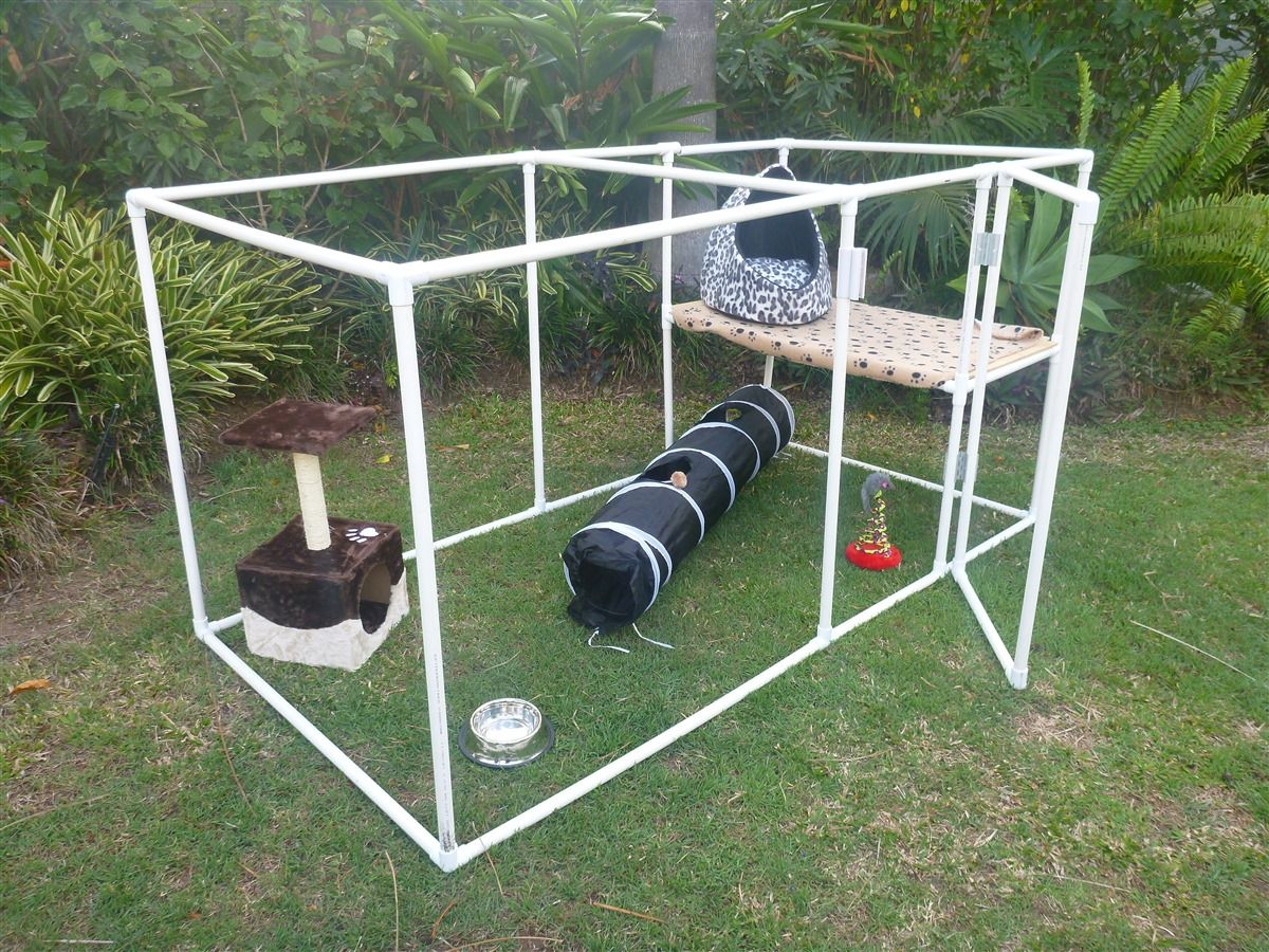 Easy to assemble, portable cat enclosure. This is the cat