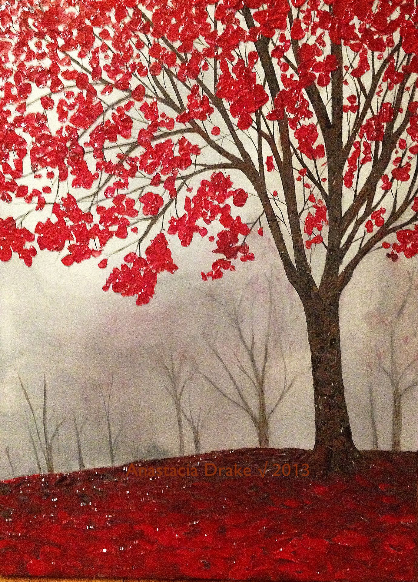 Lone tree acrylic on canvas art painting for Red canvas painting ideas