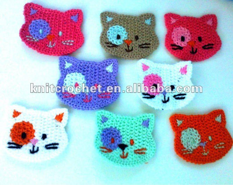 Crochet gatto faccia appliques, animali uncinetto appliques ...