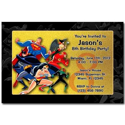 Personalized Justice League Invitations Printable
