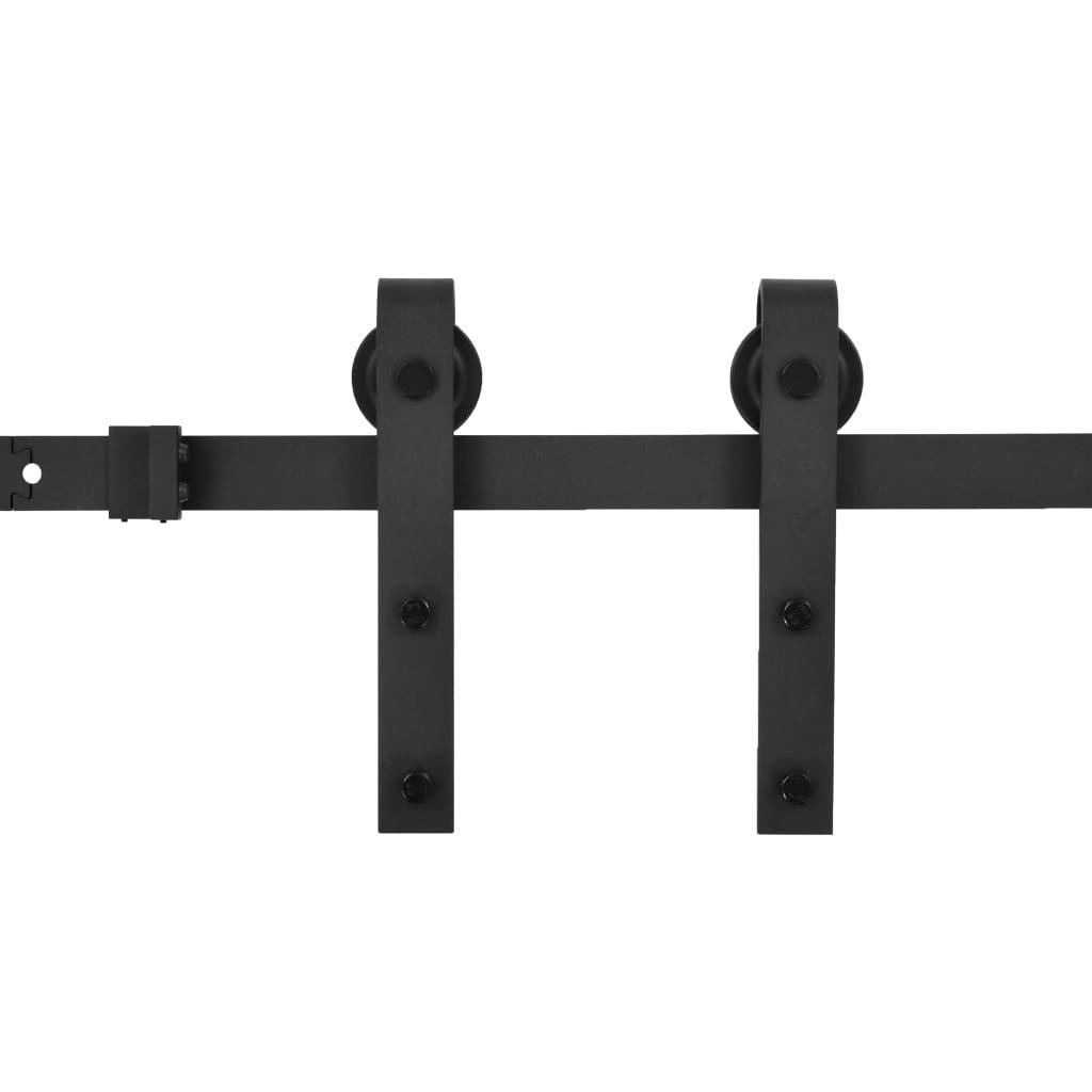 vidaXL rail set for sliding door 200 cm steel black