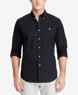 b16cddbfcb7 Polo Ralph Lauren Men s Slim Fit Long-Sleeve Shirt - Black XXL ...