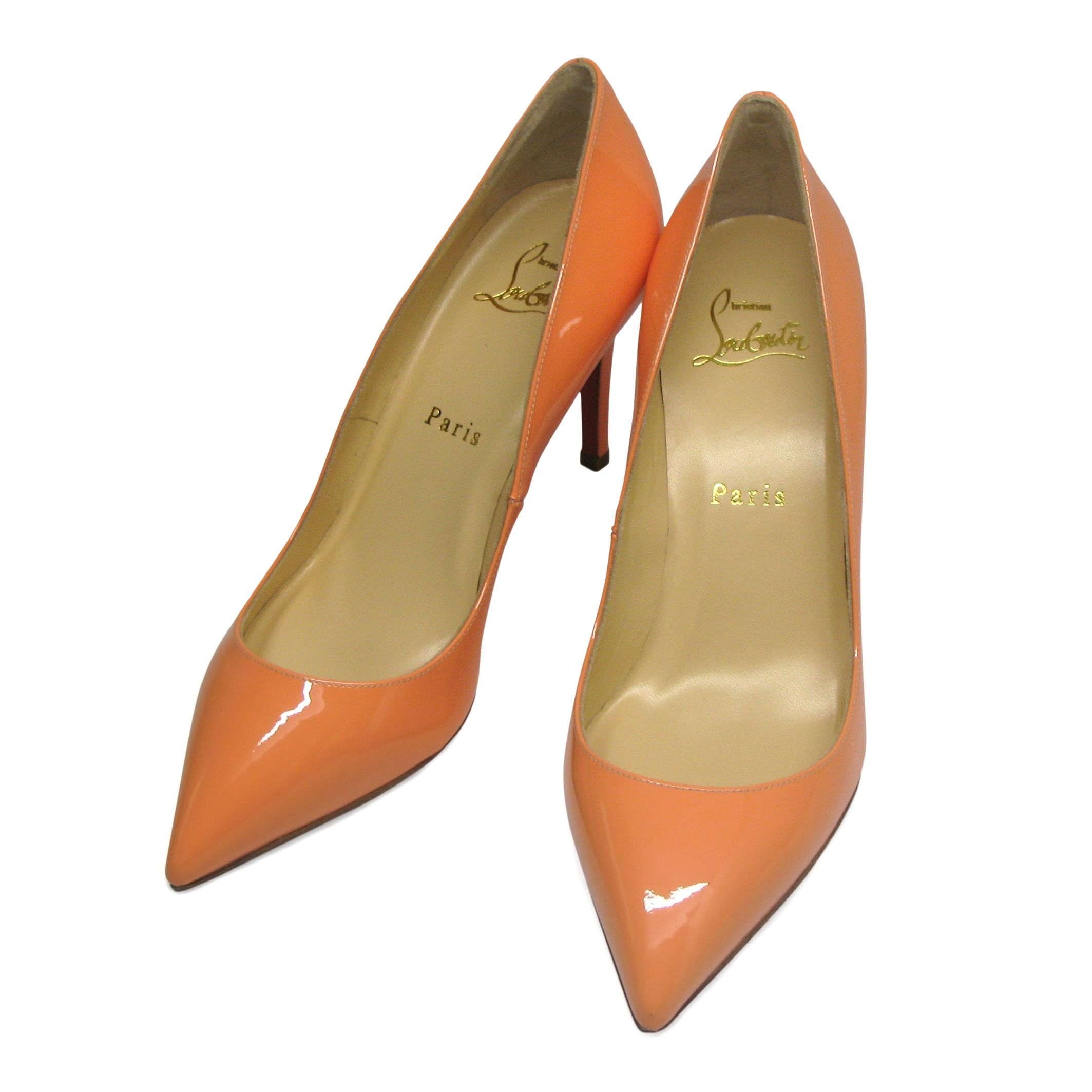 b63174f46486 Very impressive Christian Louboutin point-toe Pigalle heels in mango (light  orange) color. Crafted from sleek patent-leather