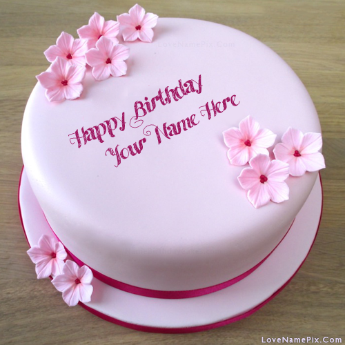 Pink Girls Birthday Cake With Flowers With Name Photo