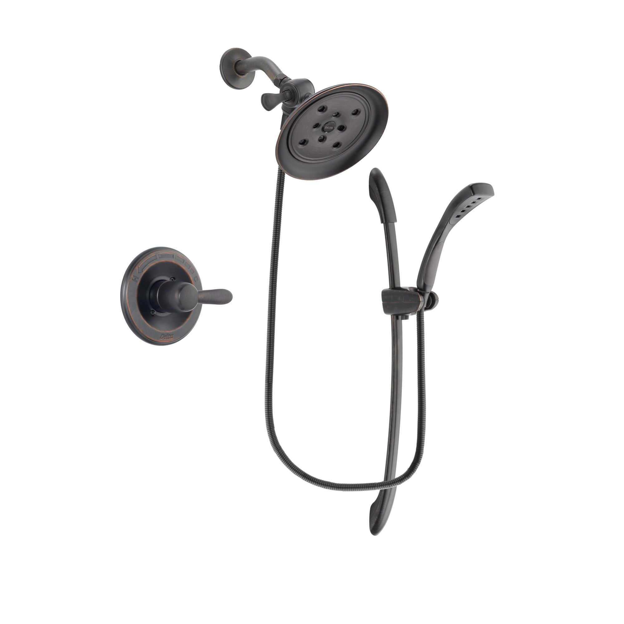 Delta Lahara Venetian Bronze Finish Shower Faucet System Package With Large  Rain Shower Head And 1