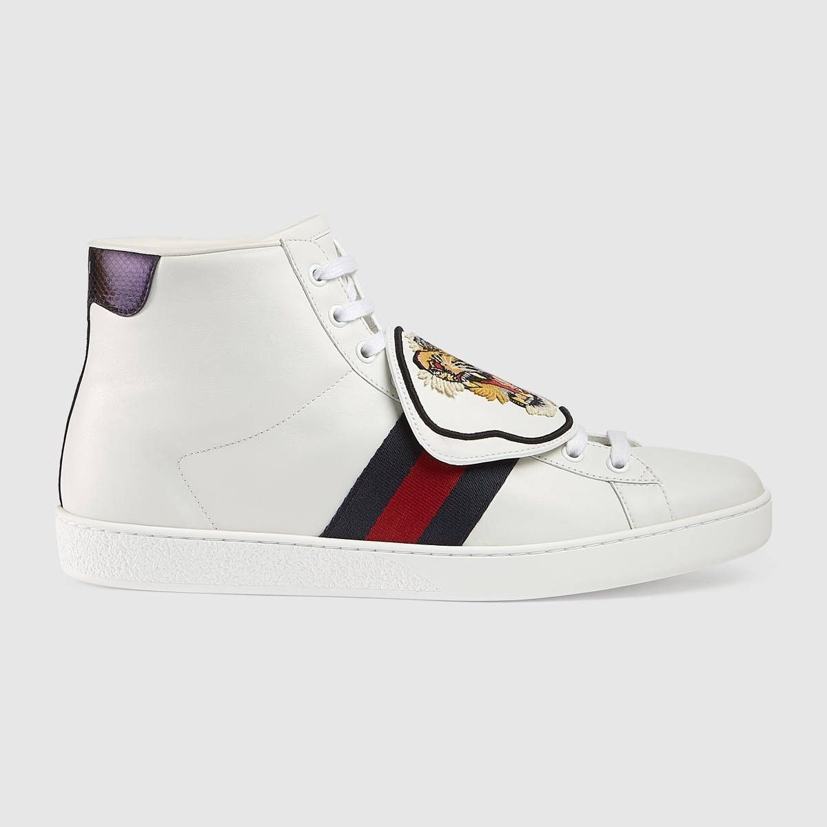 GUCCI Ace high-top sneaker with removable patches - white leather. #gucci #