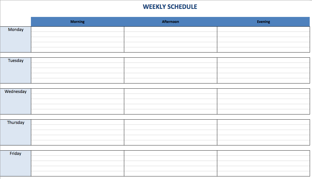 free excel schedule templates for schedule makers christian life