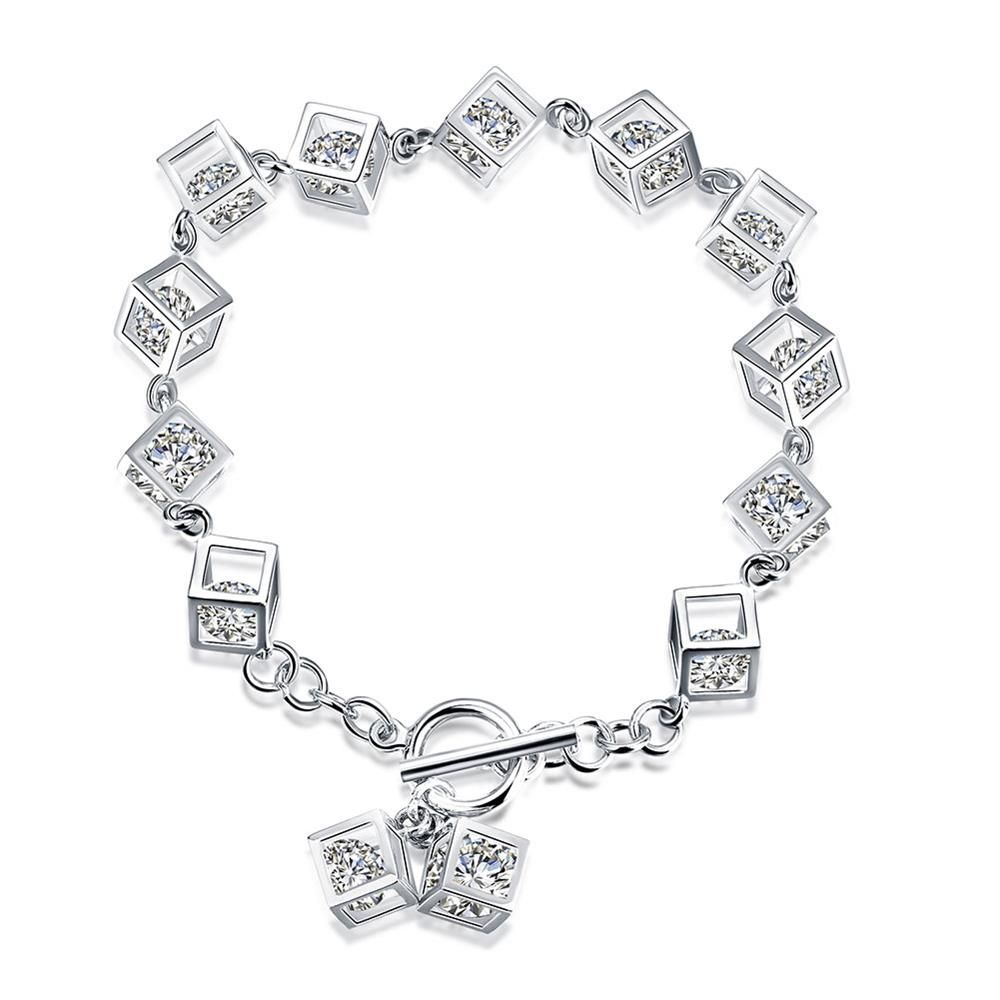 AAA Quality 925 Sterling Silver Jewelry White Zircon Stones Ladies Bracelet