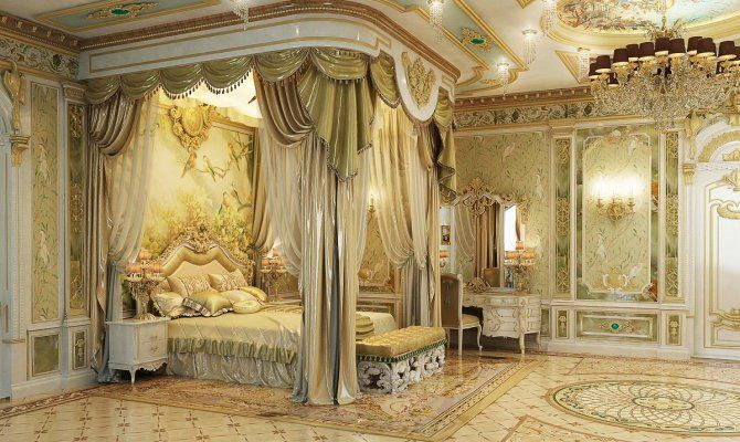Interior design bedroom in baroque style with classical elements     Interior design bedroom in baroque style with classical elements