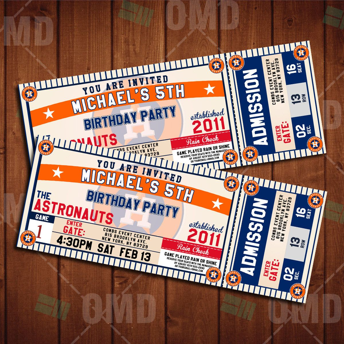 Houston Astros Classic Ticket Sports Party Invitations In 2019