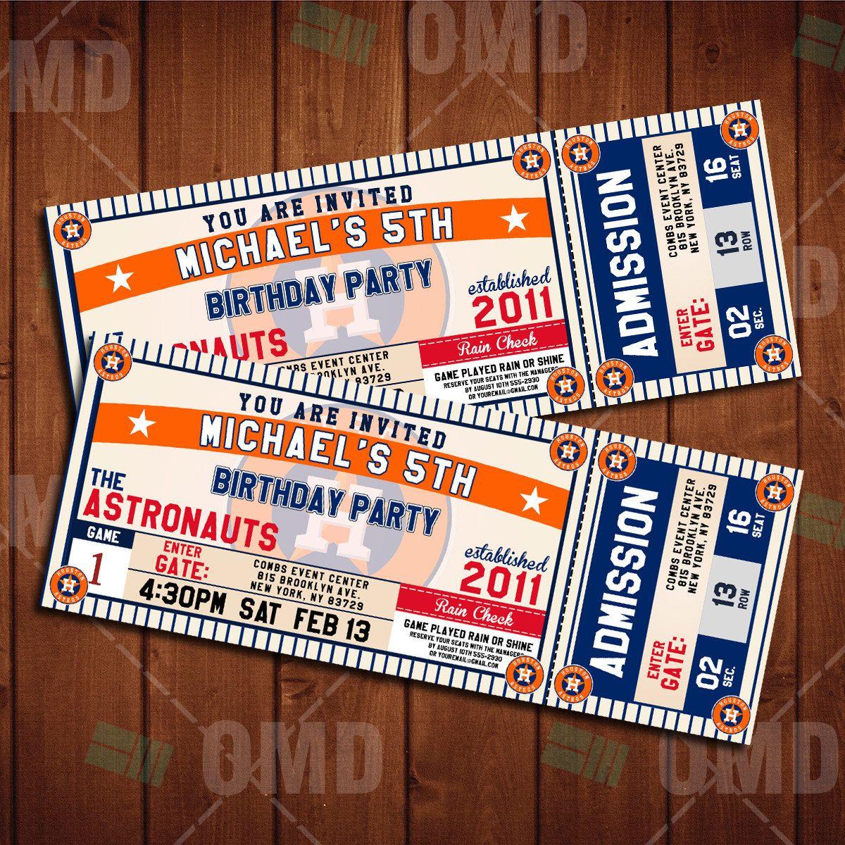 Houston Astros Sports Party Invitation, Sports Tickets Invites, Baseball  Birthday Theme Party Template By Sportsinvites