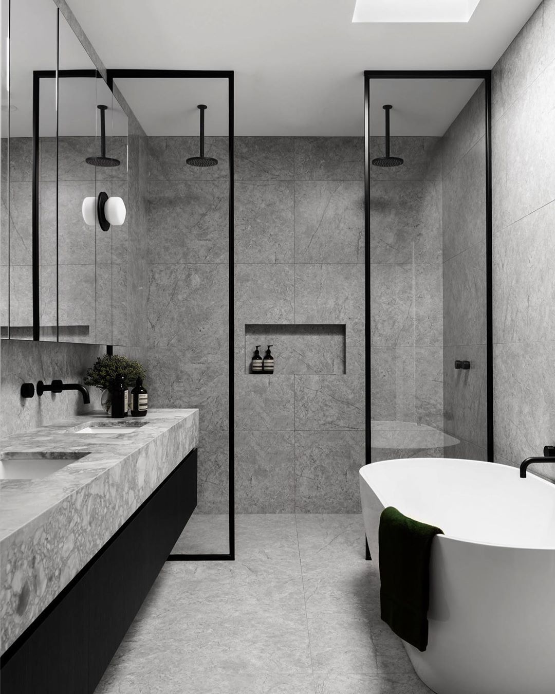 "Photo of STUDIO BLACK INTERIORS on Instagram: ""I'm in love. Totally bathroom, 50 shades of grey love. ⁣ ⁣ Custom joinery, superwhite natural stone, sleek black fixtures and those sexy…"""