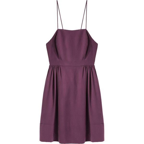 Steven Alan Corrine Dress (9.340 RUB) ❤ liked on Polyvore featuring dresses, vestidos, silk dress, strap dress, purple dress, purple silk dress and purple spaghetti strap dress