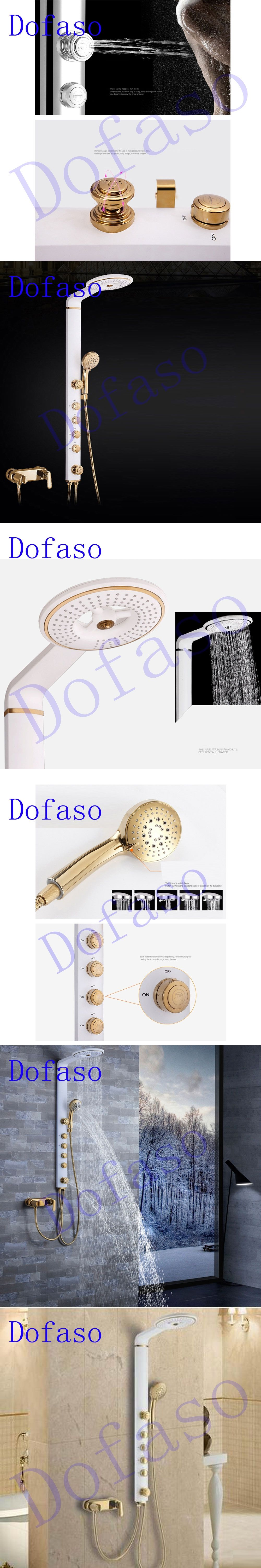 Bathroom Fixtures Dofaso Full Copper Bathroom Shower Faucets Systems Luxury White And Golden Rain Shower Panel Nozzle Sets Gold Shower Taps
