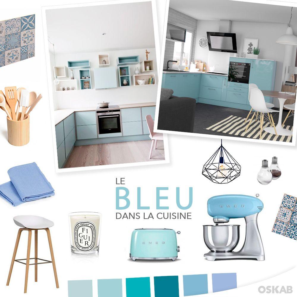 cuisine quip e moderne design sur mesure ambiance scandinave bleu canard et les bleus. Black Bedroom Furniture Sets. Home Design Ideas