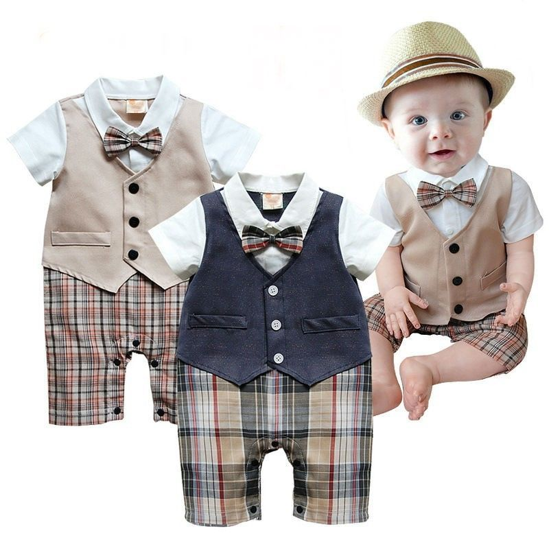 9c3ce3d05ec9 1pcs Baby Boys Infant Gentleman suit bodysuit with tie Rompers ...