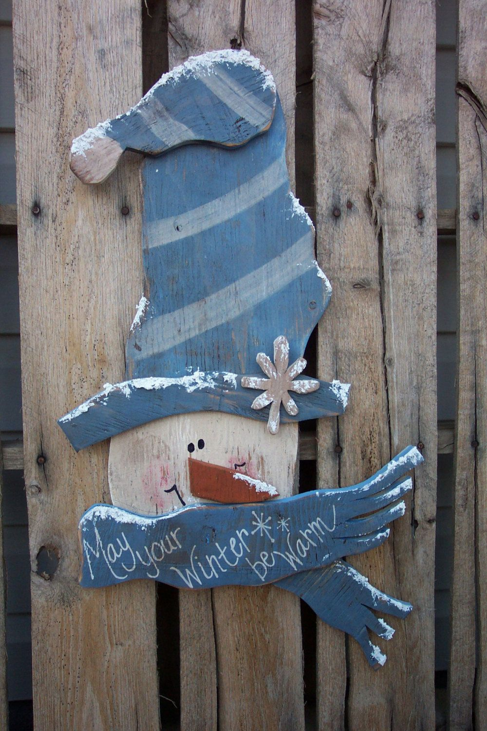 Winter Greetings Snowman Wood Craft Pattern for Winter and Christmas