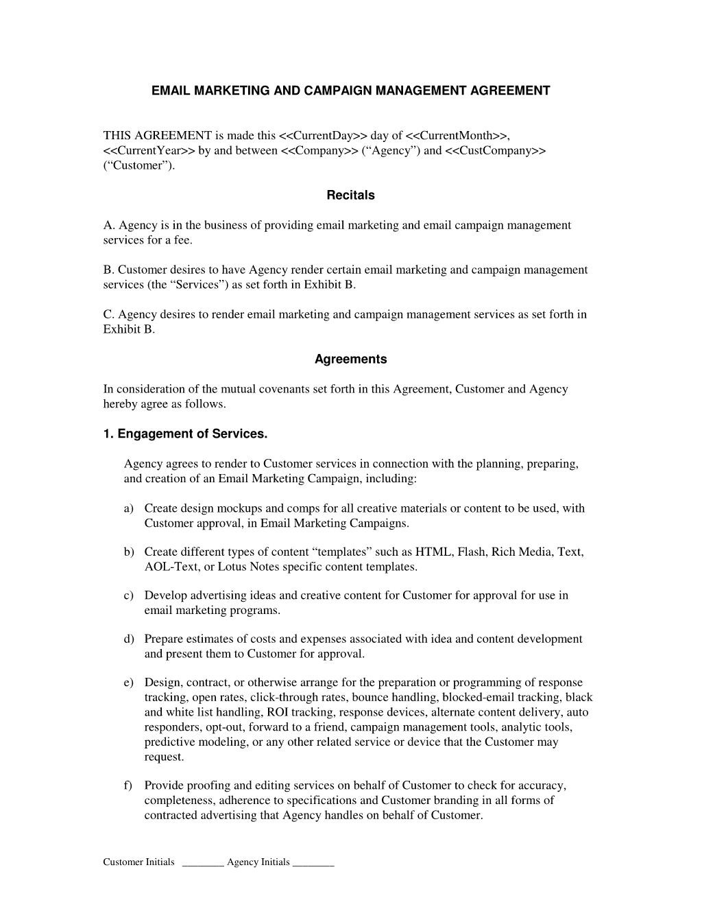 View email marketing and campaign agreement work work for Co promotion agreement template